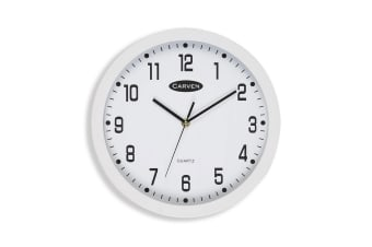 Carven 30cm Round White Wall Clock Silent Analogue 300mm for Home/Office/Decor