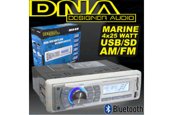 DNA MARINE FLUSH MOUNT AM FM RADIO TUNER MP3 IPOD USB BLUETOOTH 4x 25W WATT MA4B