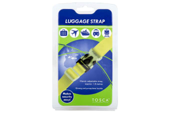 Tosca 1.8m Adjust. Luggage Strap Baggage/Travel Suitcase Lock/Secure Belt Yellow