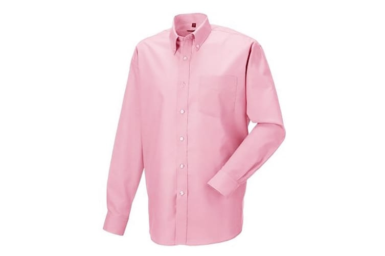 Russell Collection Mens Long Sleeve Easy Care Oxford Shirt (Classic Pink) (17inch)