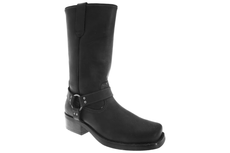 Woodland Mens High Harley Western Harness Leather Boots (Black) (9 UK)
