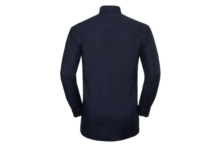 Russell Collection Mens Long Sleeve Easy Care Oxford Shirt (Bright Navy) (17.5inch)