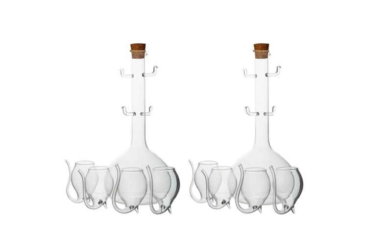 2PK Davis & Waddell Glass 800ml Port Flask 4pc 60ml Sipper Wine Drink Set