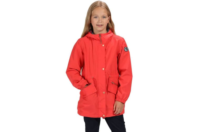 Regatta Girls Tamora Long Length Waterproof Jacket (Coral Blush) (7-8 Years)