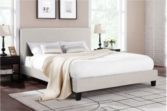 Shangri-La Bed Frame - Ravello Collection (Beige, Queen)