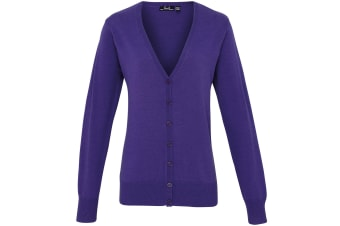 Premier Womens/Ladies Button Through Long Sleeve V-neck Knitted Cardigan (Purple) (16)
