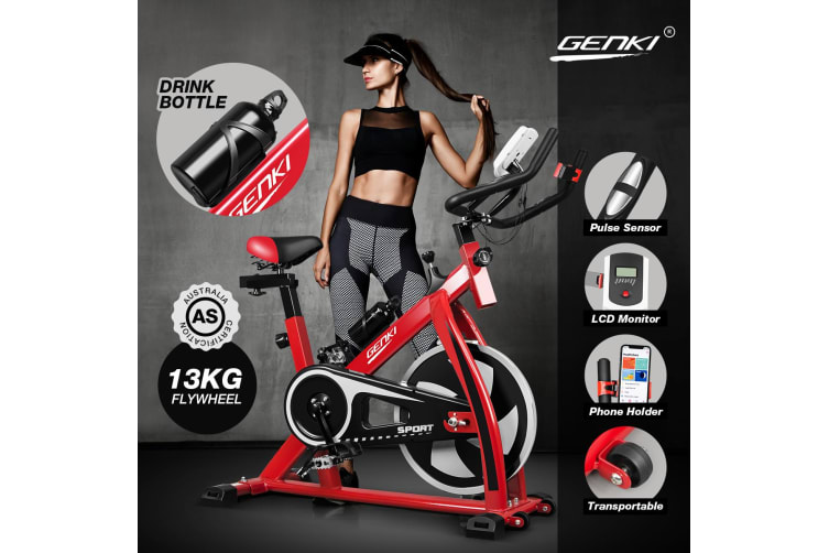 Genki Spin Bike Excercise Recumbent Bicycle Home Gym Equipment Red