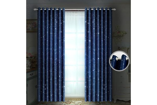 3 Layers Star Blockout Curtains SILVER GREY 140x213cm