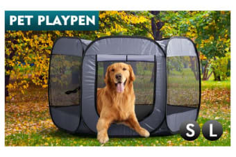 8 Panel Pet Dog Playpen Exercise Cage Dark Grey L