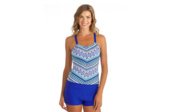 Women Printed Racerback Tankini Top With Boy Short Two Pieces Swimsuit L