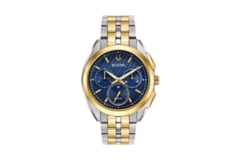 Bulova Men's 43mm Analog High Performance Quartz Curv Chronograph Watch - Two-Tone Stainless Steel/Blue (98A159)