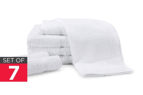 Ovela Set of 7 Egyptian Cotton Luxury Towels (White)