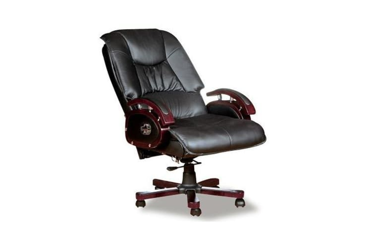 Executive Leather Office Chair Computer Seat w/ Adjustable Height and Backrest