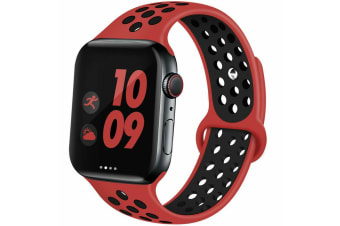 For Apple Watch Band Series 5 4 3 2 Sport Silicone iWatch Strap Band Wristband 38mm/40mm-Red Black