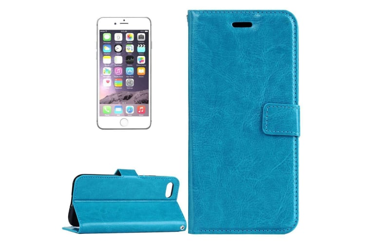 For iPhone 8 PLUS 7 PLUS Wallet Case Modern Horse Texture Leather Cover Blue