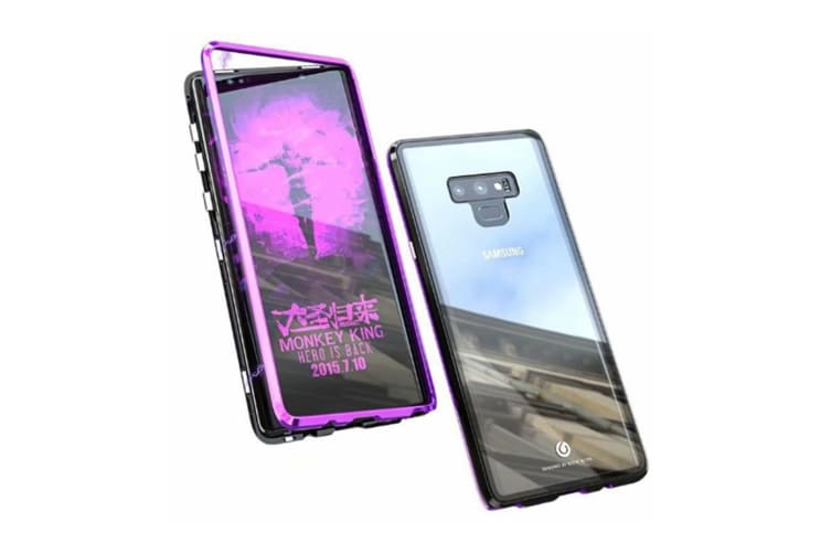 Magnetic Adsorption Phone Case Metal Back Glass Cover For Samsung Galaxy Black Samsung S7