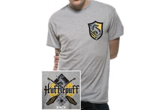 Harry Potter Unisex Adults House Hufflepuff T-Shirt (Grey) (XXL)