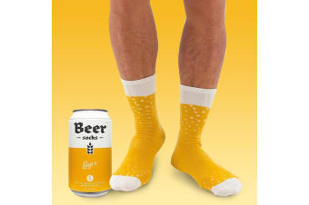 Mens Lager Beer Socks-in-a-Can