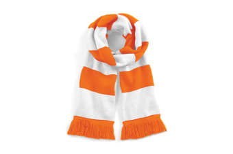 Beechfield Varsity Unisex Winter Scarf (Double Layer Knit) (Orange / White) (One Size)