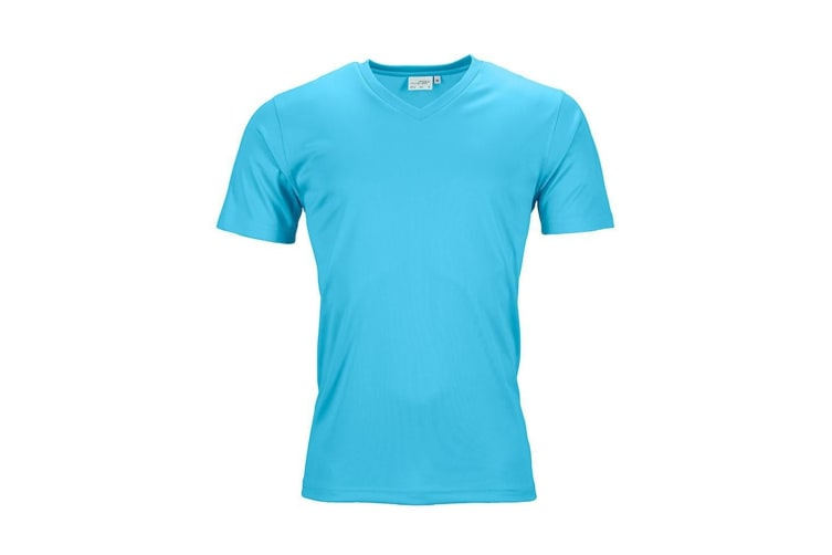 James and Nicholson Mens Active V Neck T-Shirt (Turquoise) (L)