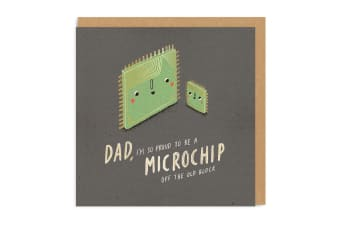 Ohh Deer Dad Microchip Square Greeting Card (Multicoloured) (One Size)