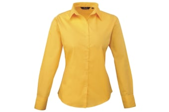 Premier Womens/Ladies Poplin Long Sleeve Blouse / Plain Work Shirt (Sunflower)
