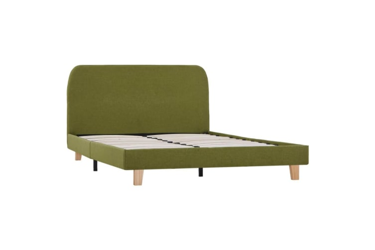 vidaXL Bed Frame Green Fabric King Single