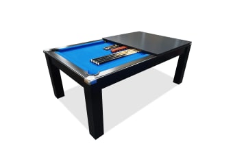 Mace 7FT Black Frame Slate Pool Dining Billiard Table with Top Free Billiard Accessories Pack,Blue Felt