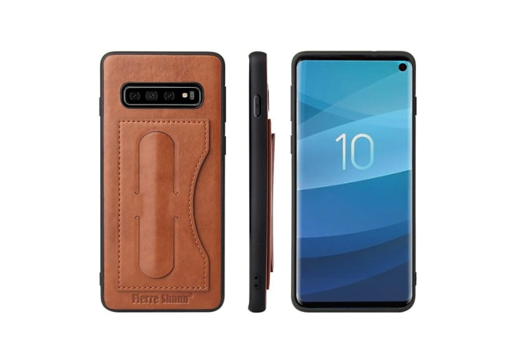 For Samsung Galaxy S10 PLUS Case  Brown Luxury Leather Kickstand Back Cover