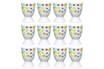 12pc KitchenCraft Bright Stars Boiled Egg Cup Holder Stand Tableware Servingware