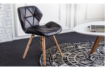 4 x Retro Replica Eames PU Leather Dining Chair - Black