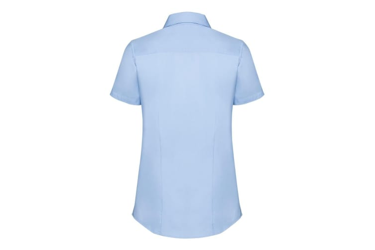 Russell Collection Womens/Ladies Short Sleeve Tailored Shirt (Light Blue Chambray) (XL)