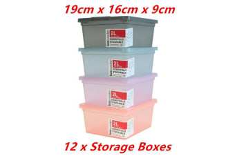 12 x 2L Stackable Storage Container Box Plastic Lid Tub Food Safe Crate 19X16X9CM