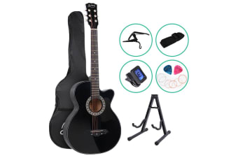 "38"" Inch Wooden Acoustic Guitar Classical Folk Full Size Black Capo"