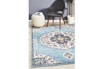 Blue & Multi Medallion Vintage Look Rug 330X240cm