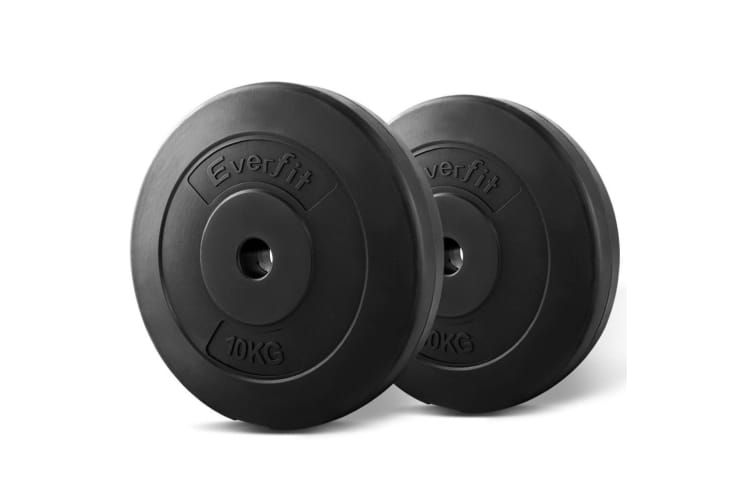 Everfit 2X 10KG Barbell Weight Plates Standard Home Gym Press Fitness Exercise