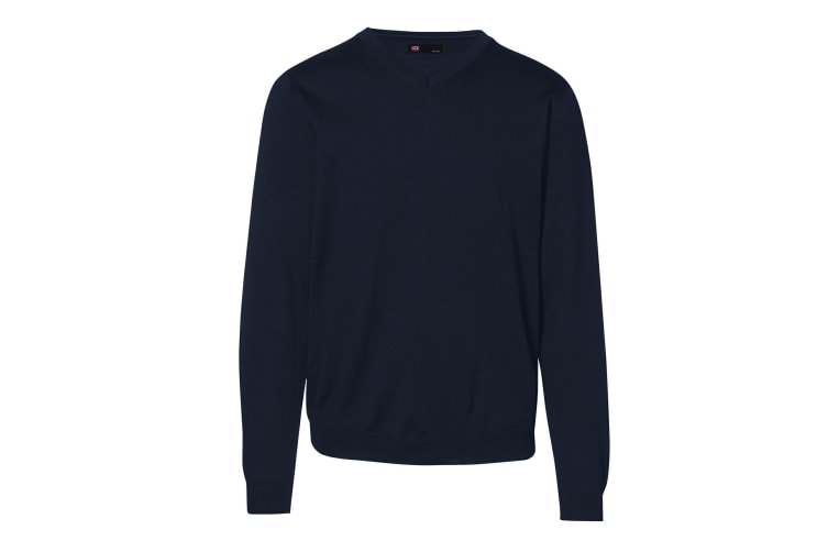 ID Mens Fitted Knitted V-Neck Pullover Sweatshirt/Jumper (Navy) (3XL)