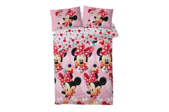 Minnie Mouse I Love Reversible Duvet Set (Pink) (Double)