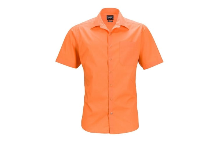 James and Nicholson Mens Shortsleeve Business Shirt (Orange) (4XL)