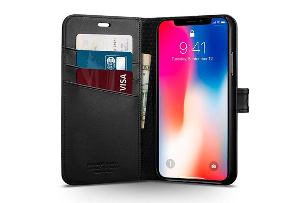 Spigen iPhone X Premium Wallet Case Black
