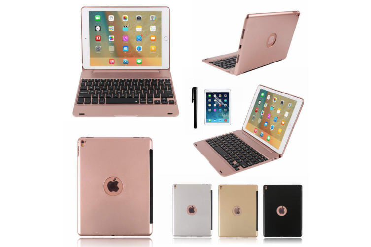 """For iPad 9.7"""" 2018 6th Gen Bluetooth Aluminum Keyboard Smart Case Stand Cover AU-Gold"""