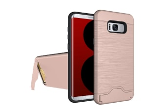 For Samsung Galaxy S8 Case Fashionable Brushed Card Slot Armour Cover Rose Gold