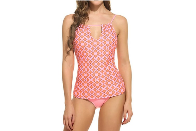 Women's Bandeau Halter Printed Tankini Top with Triangle Briefs Set