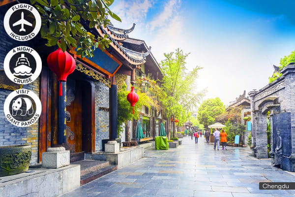 CHINA: 10 Day Chengdu & Yangtze River Cruise Package Including Flights for Two