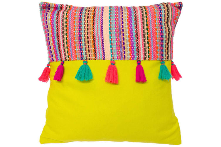 Paoletti Cuzco Cushion Cover (Lime Green) (One Size)