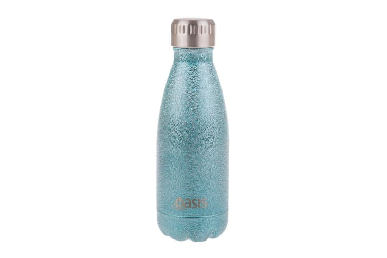 Oasis Shimmer Stainless Steel Double Wall Insulated Drink Bottle 350ml Arctic Blue