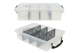 6L Clear Plastic Compartment Storage Box with 4 Removable Dividers Containers Bin Tubs Tub