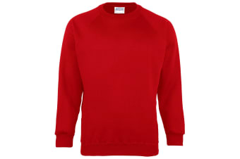 Maddins Kids Unisex Coloursure Crew Neck Sweatshirt / Schoolwear (Red) (24)