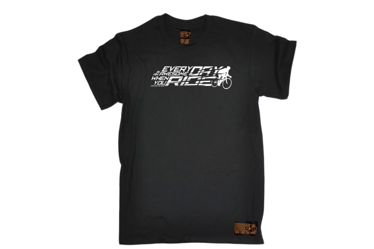 Ride Like The Wind Cycling Tee - Everyday Is Awesome - (Large Black Mens T Shirt)