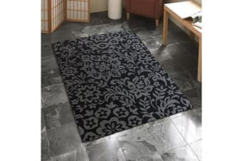 Indoor Outdoor Damask Pattern Rug Black 270x180cm